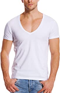 Deep V Neck Shirts Men V Cut Tee Short Sleeve Stretch T Shirt Vee Top