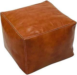 ArtOuarzazate Moroccan Square Poufs Handmade - Comfortable Ottoman & Footrest - Natural Brown (Light Tan)