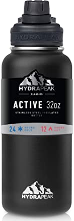 Hydrapeak BPA-Free Water Bottle, 32 oz. Vacuum Insulated Stainless Steel Thermos, Wide Mouth and Leak-Proof Sport Spout Chug Lid Cap