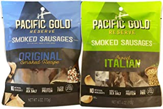 Pacific Gold Reserve Smoked Sausages 4 Oz Pack Of 2! 2 Flavors Original Smoked Recipe and Sweet Italian! Natural Smoke Flavor Added! Made With Sea Salt! Good Source Of Protein! Savory, Sweet & Spicy!