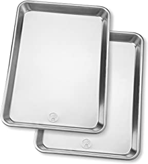 Jelly Roll Baking Sheet Pans - Professional Aluminum Cookie Sheet Set of 2 - Rimmed Baking Sheets for Baking and Roasting...