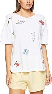 French Connection Women's Beach Favourites TEE, Summer White/Multi