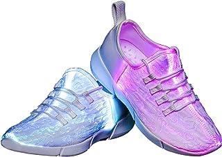 LED Fiber Optic Shoes Light Up Sneakers for Women Men...