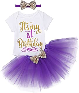 FEESHOW Baby Girls' My 1st Birthday Outfits Romper Bodysuit with Tutu Skirt Sequins Bow Headband Set