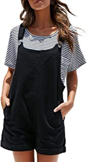 Women's Plain Jumpsuit Overall Shorts Rompers with Pockets