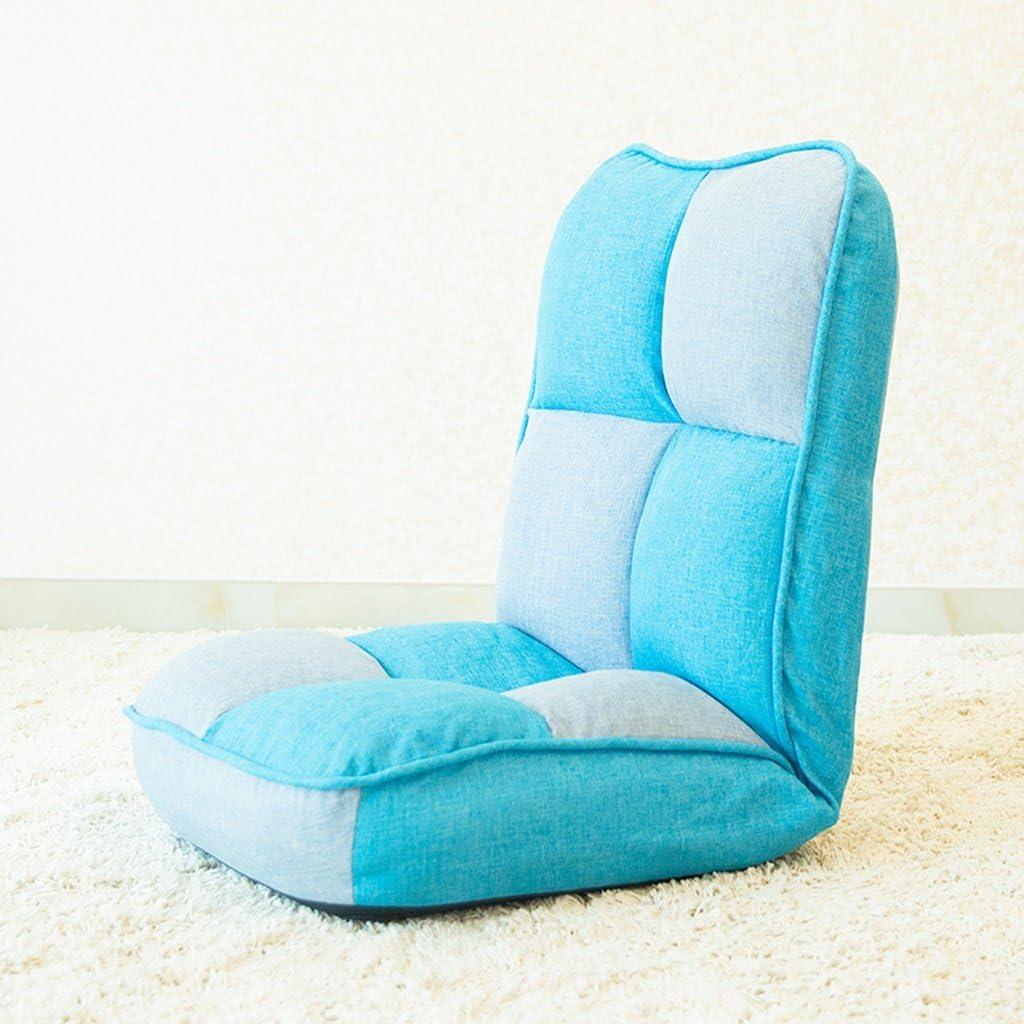 Lazy sofa Fold Chaise Chambre Salon Tissu Loisirs Fauteuil -LI Jing Shop (Couleur : Red) Bleu