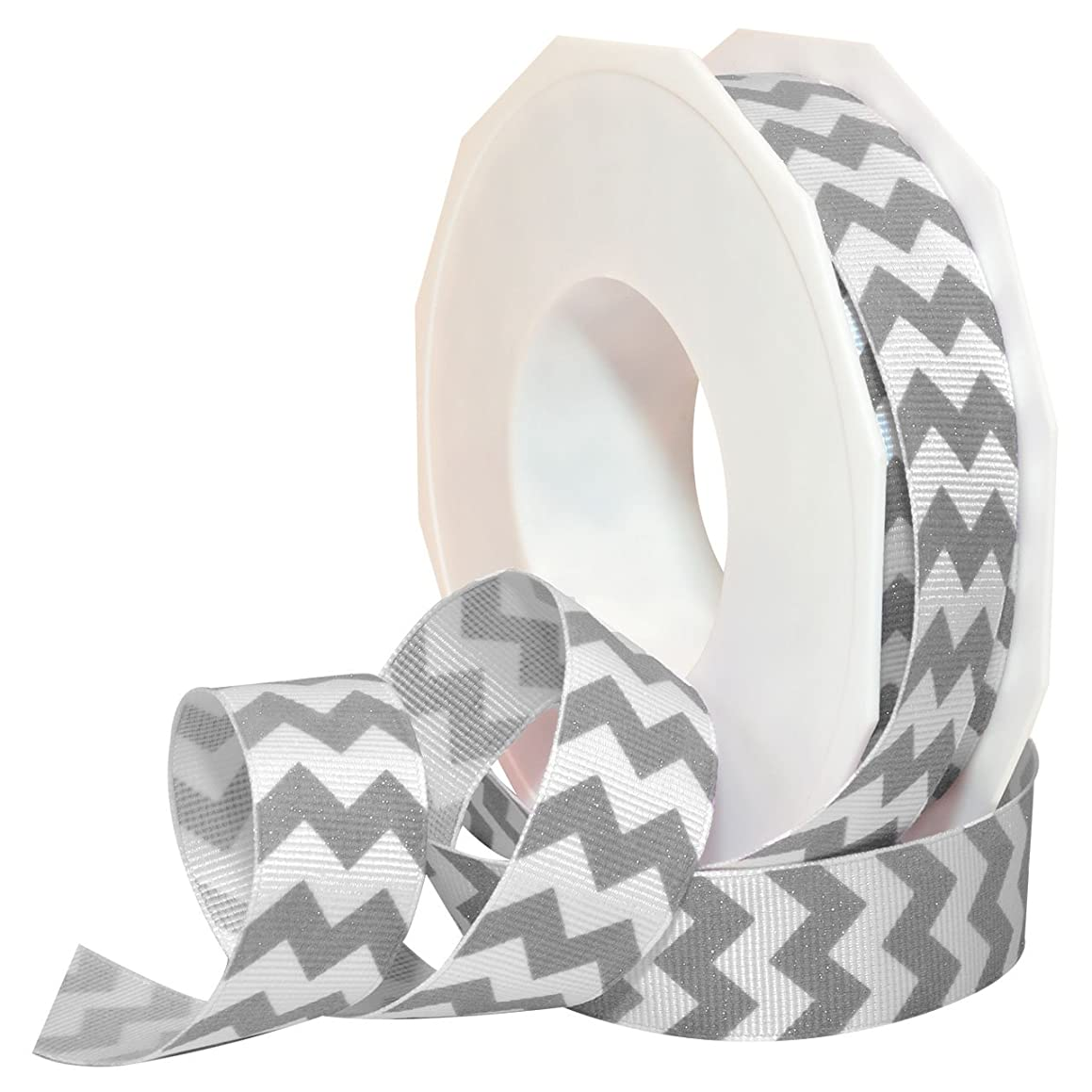 Morex Ribbon 98122/20-124 Polyester Sugar Chevron Ribbon, 7/8-Inch by 20-Yard, Platinum