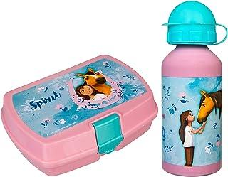 Scooli- DreamWorks Spirit - Juego de Fiambrera con Clip y Botella de Aluminio (400 ml, fácil de Abrir y Cerrar, sin BPA ni...
