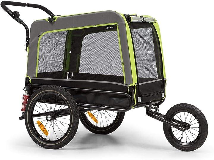 Rimorchio passeggino per cani e gatti - rimorchio cani per bicicletta klarfit BCT1-HuskyVarioGREEN