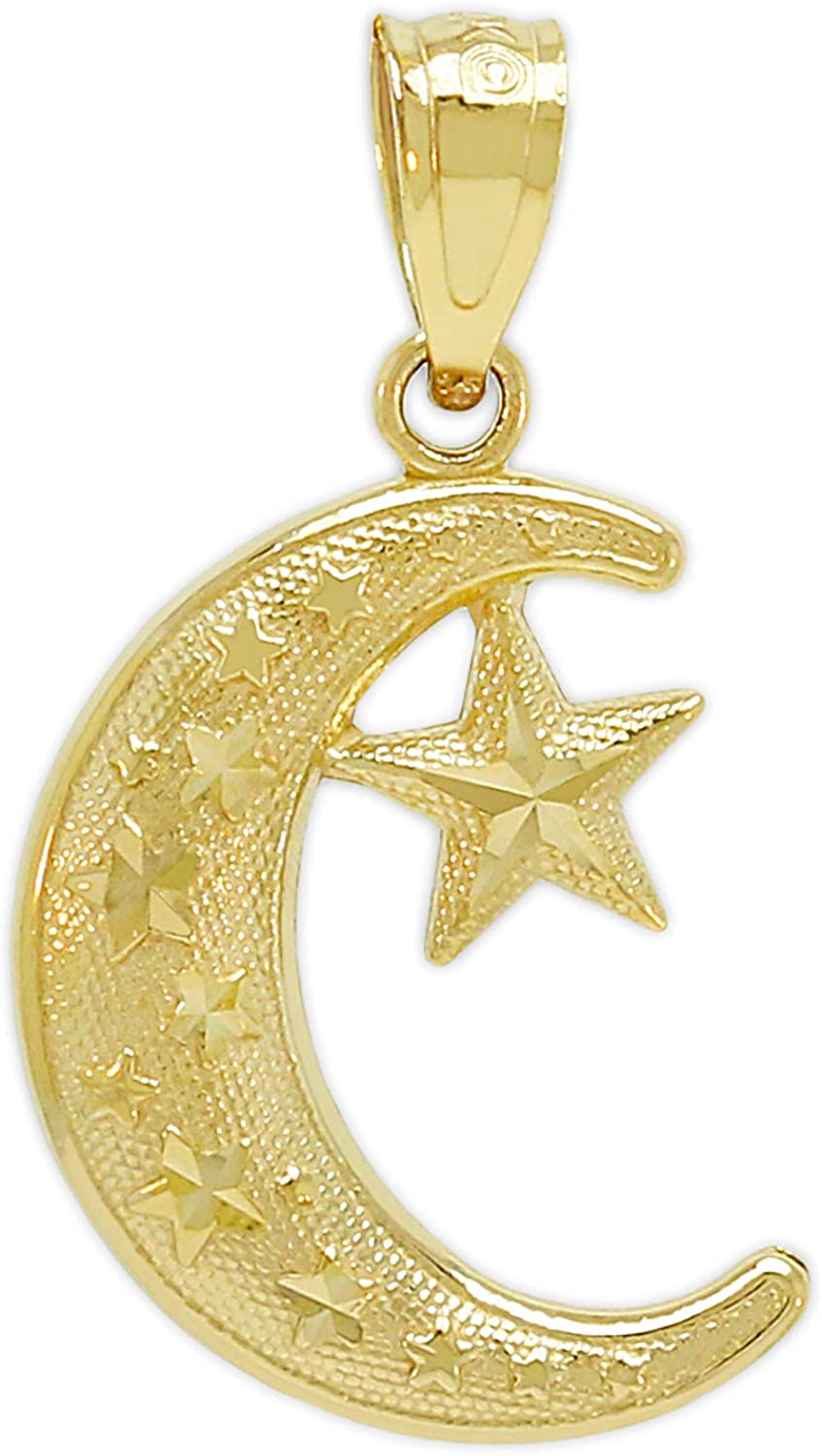 Charm America - Gold Moon Max 69% OFF Star and Karat 10 Now free shipping Solid