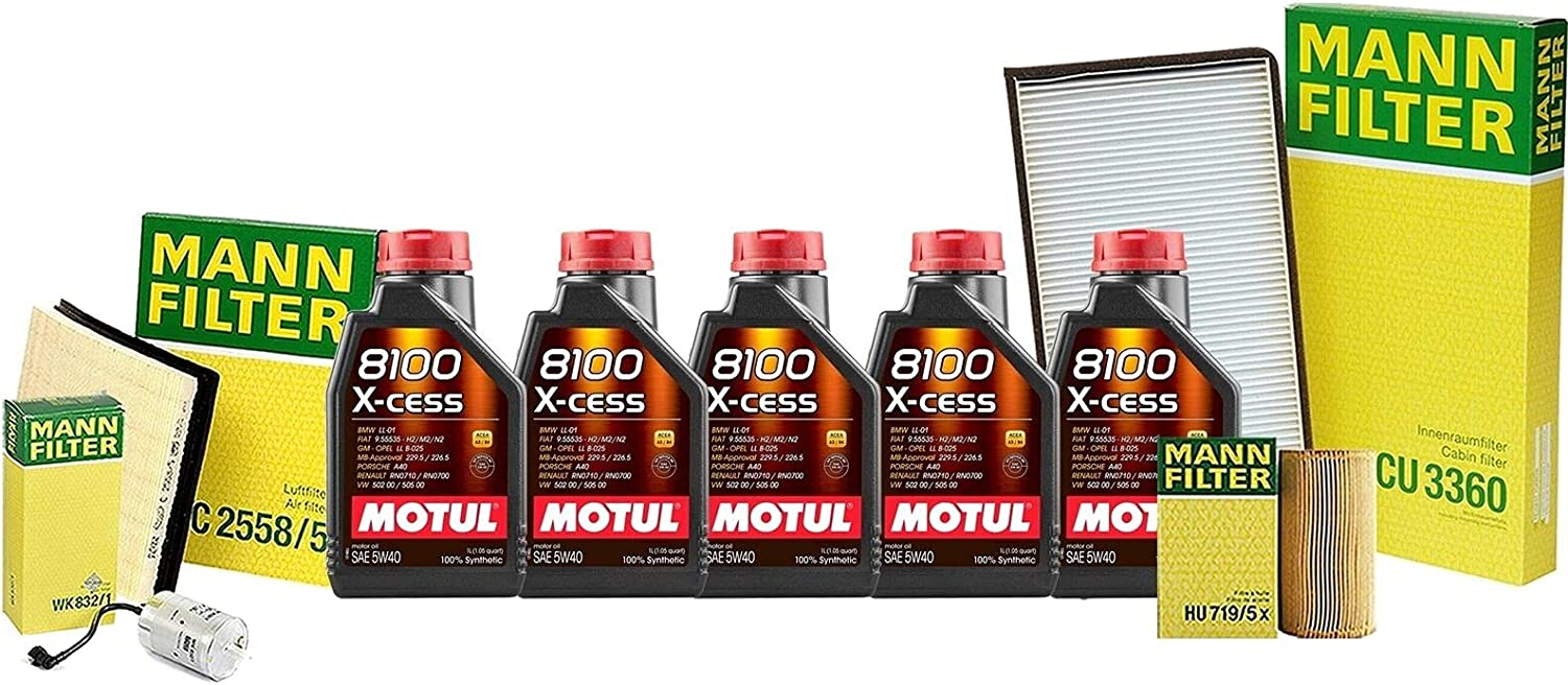 9L 8100 New popularity X-CESS 5W40 Oil Filter kit Compatible Tulsa Mall Porsc with Service