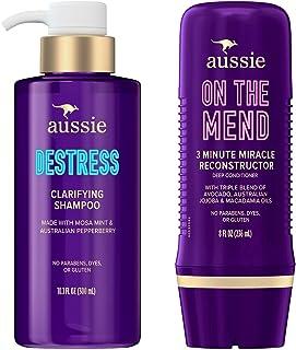 Aussie Destress Clarifying Shampoo & Reconstructing Deep Conditioner Bundle, Paraben and Dye Free