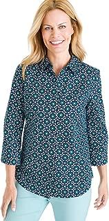 Women's No-Iron Cotton Stain-Shield Button-Up Easy Shirt