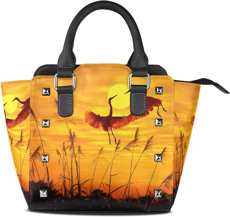 My Little Nest Women's Top Handle Satchel Handbag Beautiful Sunset Flying Cranes Ladies PU Leather Shoulder Bag Crossbody Bag