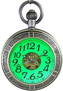 Ogle Waterproof Magnifier Skeleton Chain Silver Luminous Fob Self Winding Automatic Mechanical Pocket Watch