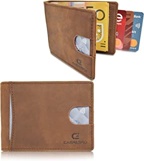 Cabaleiro Mens Ultra Slim Brown Leather Bifold Credit Card Wallet With RFID Blocking And Money Clip