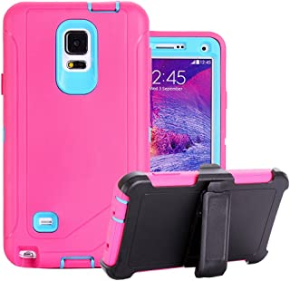 Galaxy Note 4 Holster Case, Harsel Defender Series Heavy Duty Shockproof Impact Dustproof Full Body Military Protective with Belt Clip Built-in Screen Protector Case for Galaxy Note 4 - Rose Blue