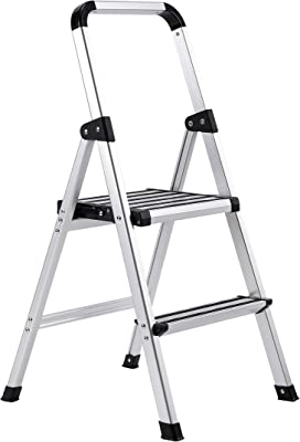 BirdRock Home 2-Step Aluminum Step Ladder - Sturdy Thin Folding Stool - 2 Anti-Slip Steps - Wide Platform - Great for Your Kitchen, Pantry, Closets, or Home Office - Modern Stool - Indoor - Silver