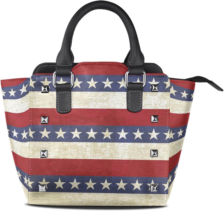 Sunlome Vintage Stripes Stars Print Women's Leather Tote Shoulder Bags Handbags