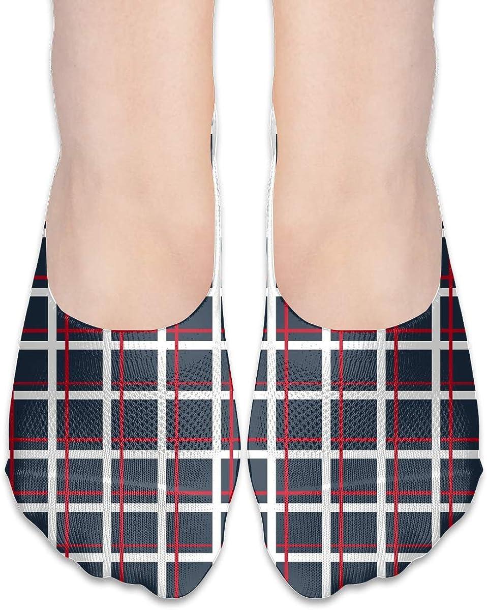 No Show Socks Women Men For United Kingdom Blue Plaid Flats Cotton Ultra Low Cut Liner Socks Non Slip