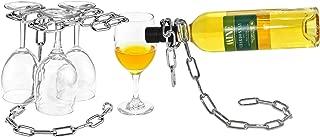Magic Floating Chain Wine Glass Stemware Rack & Bottle Holder Set Chrome Stand Holder