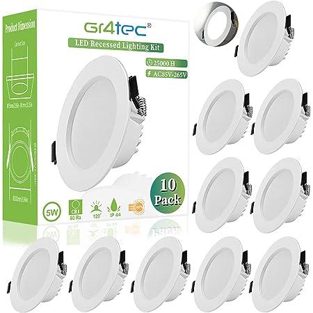 Gr4tec Lot de 10 Spot LED Encastrable Extra Plat, IP44 LED Spot Salle de Bain, 5W 310LM Blanc Neutre 4000K, Ultra-mince 35MM, SpotLedExtraPlat, Spot LED Intégrée AC85-265V, Pour Cuisine Chambre