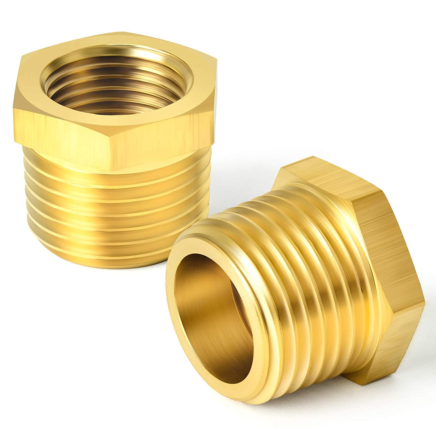 TAISHER 2PCS Excellent Brass Reducer Hex Threaded Fitting 1