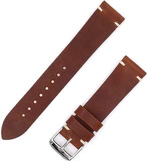 Benchmark Basics Brown Nut Horween Dublin Vegetable Tanned Leather Minimalist Watchband   Handmade in Brooklyn   20mm & 22mm