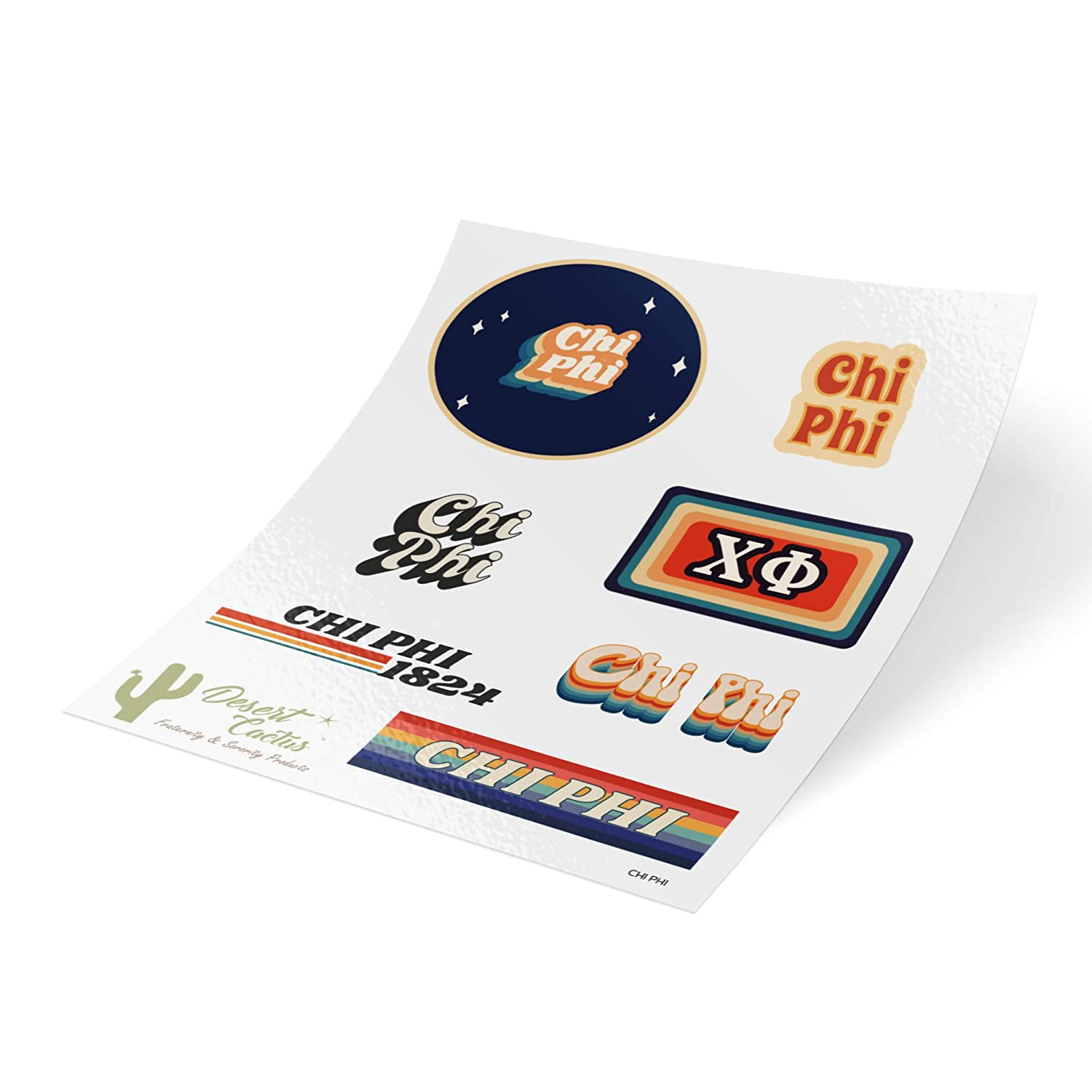 Chi Phi 70's Themed Sticker Sheet Decal Laptop Water Bottle Car (Full Sheet - 70's)