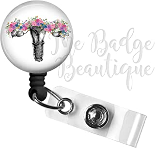 Floral Uterus Retractable ID Badge Reel, Swivel Alligator Clip, 34in. Nylon Cord, Labor and Delivery, OB Gynecology, Medical MD RN Nurse Badge ID, Badge Holder, ID Badge Pull, L&D, Midwife Name Tag