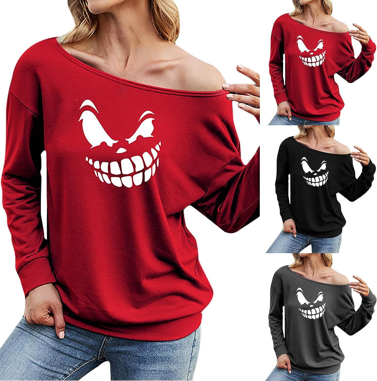 Women Graphic Printed Long Sleeve O-Neck T-Shirt Sexy Off Shoulder Loose Basic Sweatshirt Tops Slim Tunic