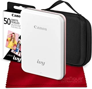 Canon Ivy Mini Mobile Photo Printer (Rose Gold) with Canon 2 x 3 Zink Photo Paper (50 Sheets) and Hard Shell Case Deluxe Bundle