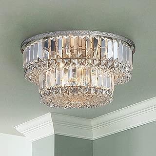 Saint Mossi Chandelier Modern K9 Crystal Raindrop Chandelier Lighting Flush Mount LED Ceiling Light Fixture Pendant Lamp for Dining Room Bathroom Bedroom Livingroom 5 G9 Bulbs Required H9