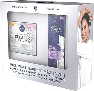 NIVEA Pack Hyaluron Cellular Filler Antiedad y Extra Firmeza, caja de regalo con crema antiedad de día (1 x 50 ml) y sérum...