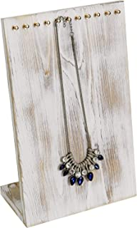 MyGift 12-inch Shabby Chic Whitewashed Wood Necklace Hanger Stand Jewelry Display Board Rack with Brass Tone Hooks