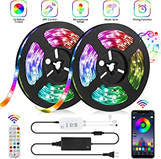 LED Strip Lights, IWVMEM 32.8ft RGB 300 LEDs SMD5050 Flexible Light, IP65 Waterproof Music Sync Color Changing Tape Lights, 24-Key Remote Control + Bluetooth APP Control, for Home Party Decoration