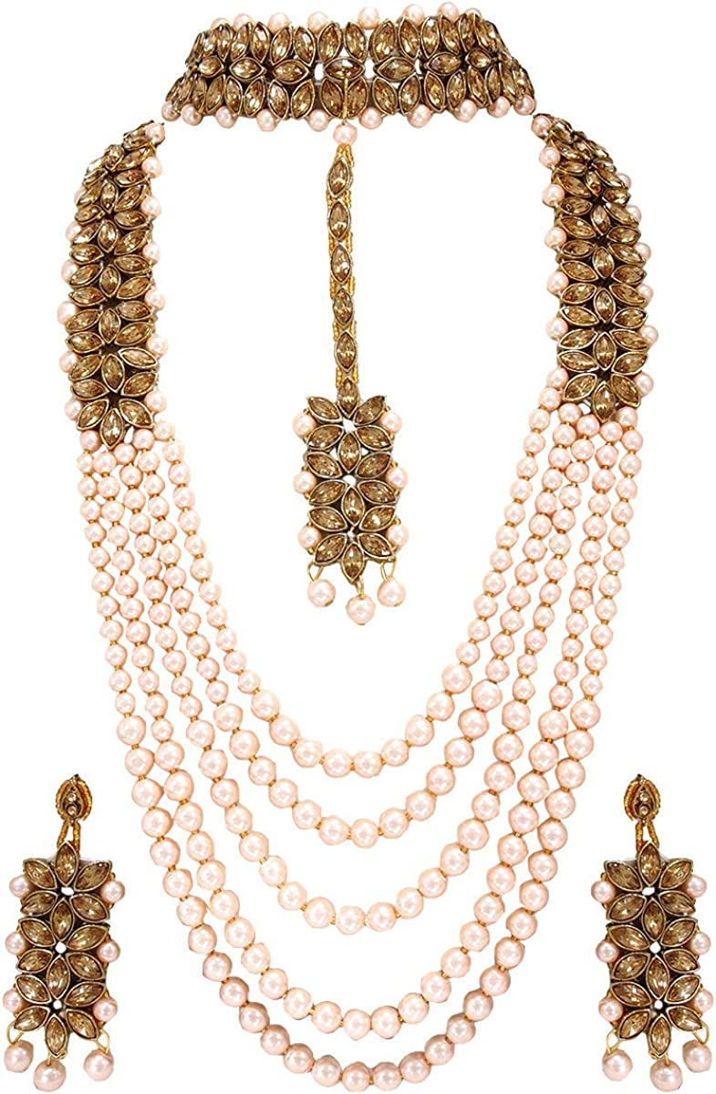 CROWN JEWEL Indian Fashion Bridal Wedding Pearl 20 pc Combo Jewelry Gold  Necklace Earring Set