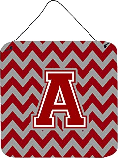 """Caroline's Treasures CJ1049-ADS66 Letter A Chevron Maroon and White Wall or Door Hanging Prints, Multicolor, 6"""" H x 6"""" W"""