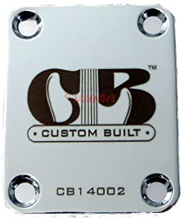 """Custom Built"" Engraved Guitar Neck Plate - Standard 4 Bolt Style - Silver"