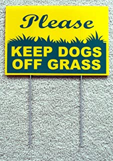 Peter Select Please Keep Dogs Off Grass 8''X12'' Plastic Coroplast Sign with Stake New Funny Retro Vintage Business Nostalgic Signs