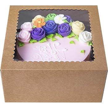 Cajas para pastelería, color marrón, 20 x 20 x 10 cm; caja grande automontable para tartas, de cartón kraft y con ventana (paquete de 15): Amazon.es: Hogar