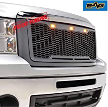 EAG Replacement Upper Grille Front Honeycomb Grill with Amber LED Lights - Charcoal Gray Fit for 07-13 GMC Sierra 1500