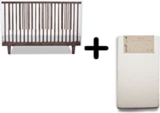 Oeuf Rhea Crib, Walnut/White + Oeuf Pure and Simple Natural Dual Firm Crib Mattress, Natural Complete Set