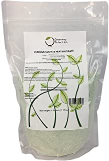 Greenway Biotech Ferrous Sulfate Heptahydrate 20% Iron (Fe) 12% Sulfur (S) 100% Water Soluble Powder Brand 5 Pounds
