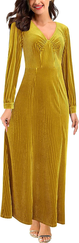 Bargain OUGES Women's Long Sleeve V-Neck Eve Elegant Limited time trial price Dress Formal Velvet