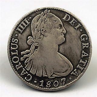 nouler Moneda Conmemorativa de la Moneda Antigua del Dólar de Plata de España 1807 Moneda Conmemorativa