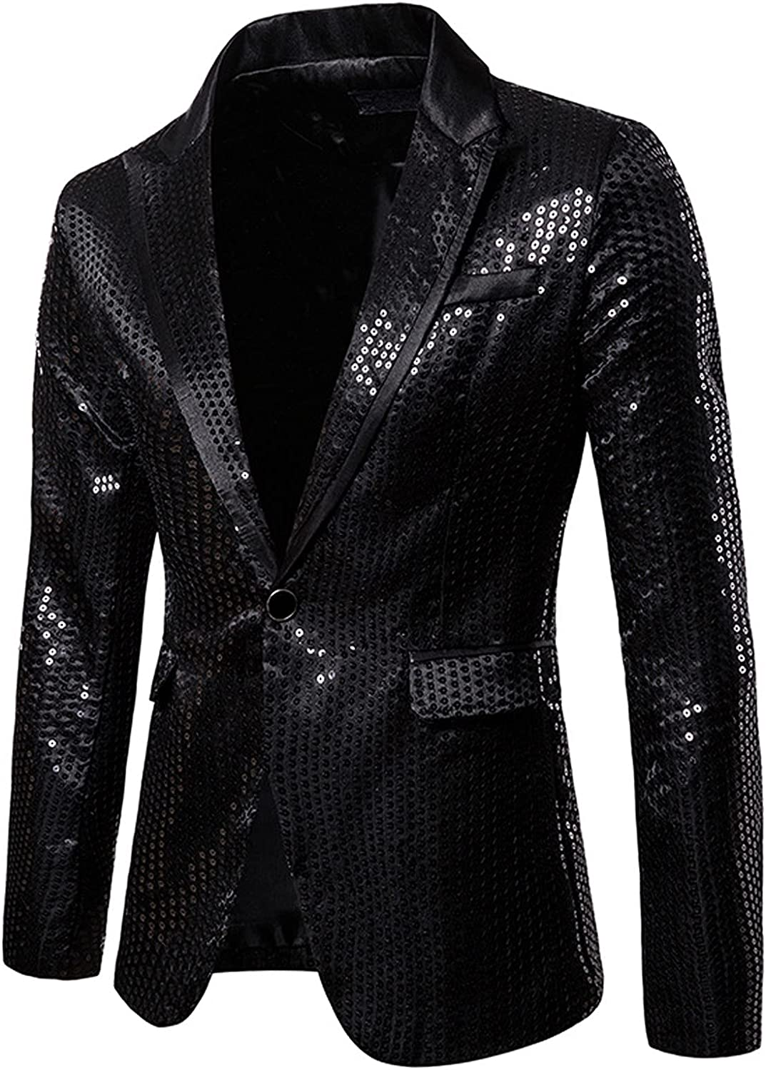 Mens Blazer Suit Shiny Sequins Lapel Jacket One Button Jacket Cardigan Stylish Tuxedo with Pocket for Party Banquet Prom
