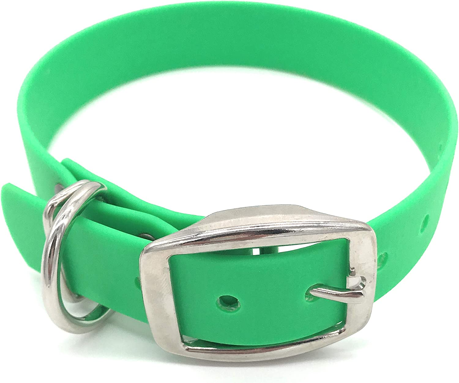 Biothane Dog Collars, Dog Collar, Buy a Collar Help a Veteran. Weather and Waterproof Puppy and Dog Collar with Nickel Plated Finish for Large Dogs and XL Dogs (16.521 inches, Green)