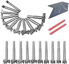 flintronic Brocas Forstner, 24Pcs(21 Taladros, 1 Regla de Ángulo de Inglete y 2 Lápices) Brocas Set de Acero al Tungsteno Titanium Recubierto, Fresadora Herramienta para Perforadora
