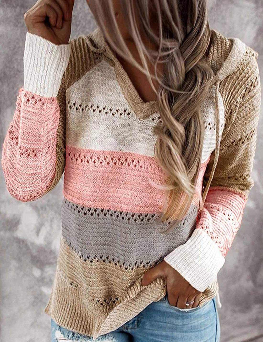 Womens Casual Long Sleeve Knitted Hooded Sweater Hollow Hoodie Pullover Jumper